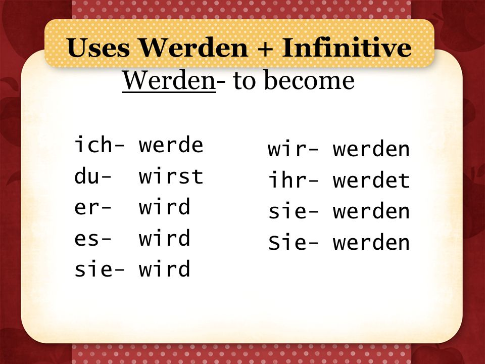 Uses Werden + Infinitive Werden- to become