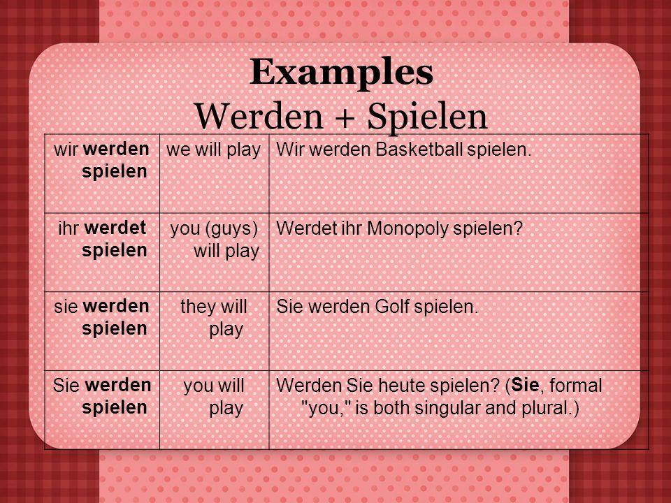 Examples Werden + Spielen