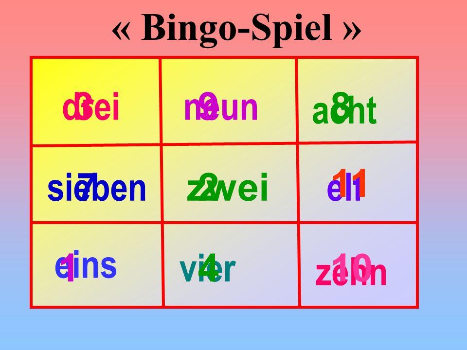 « Bingo-Spiel » drei 3 neun 9 8 acht 11 sieben 7 zwei 2 elf eins 1 vier 4 10 zehn