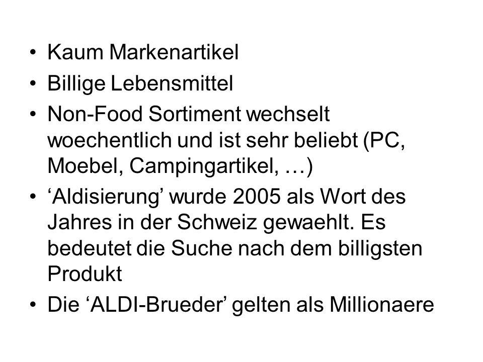 Kaum Markenartikel Billige Lebensmittel. Non-Food Sortiment wechselt woechentlich und ist sehr beliebt (PC, Moebel, Campingartikel, …)