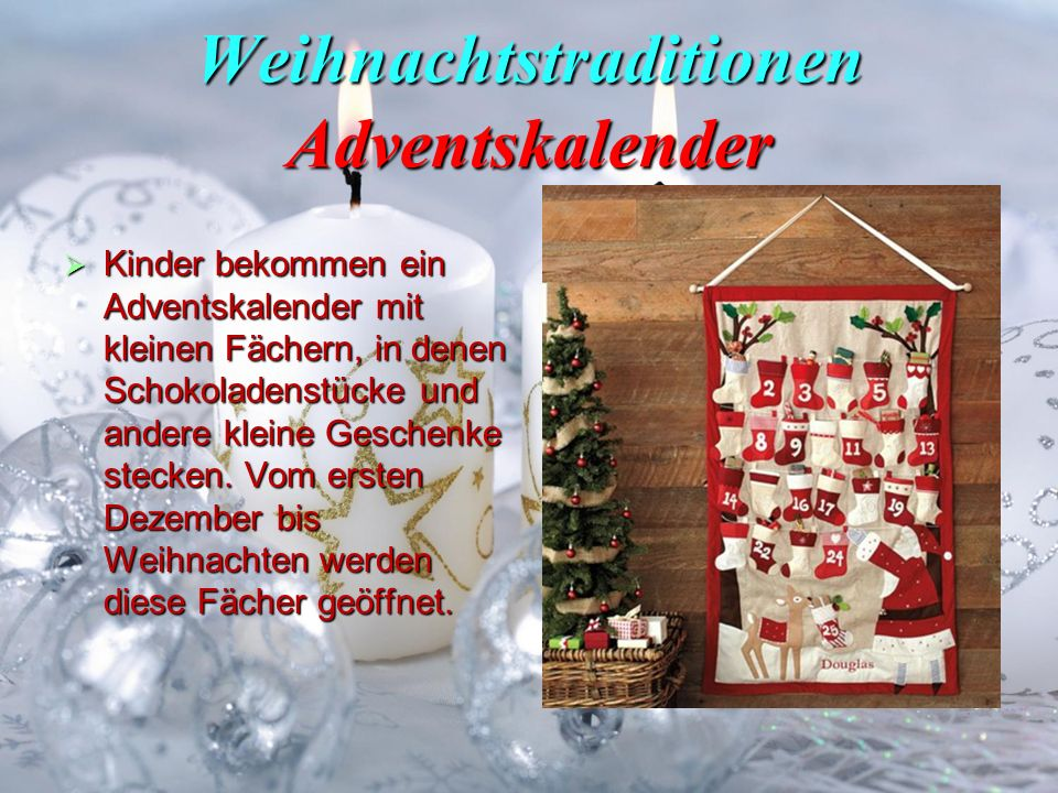 Weihnachtstraditionen Adventskalender