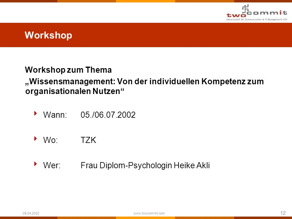 Workshop Workshop zum Thema