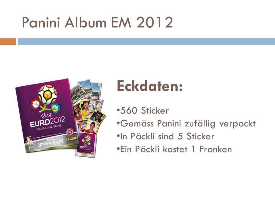 Panini Album EM 2012 Eckdaten: 560 Sticker