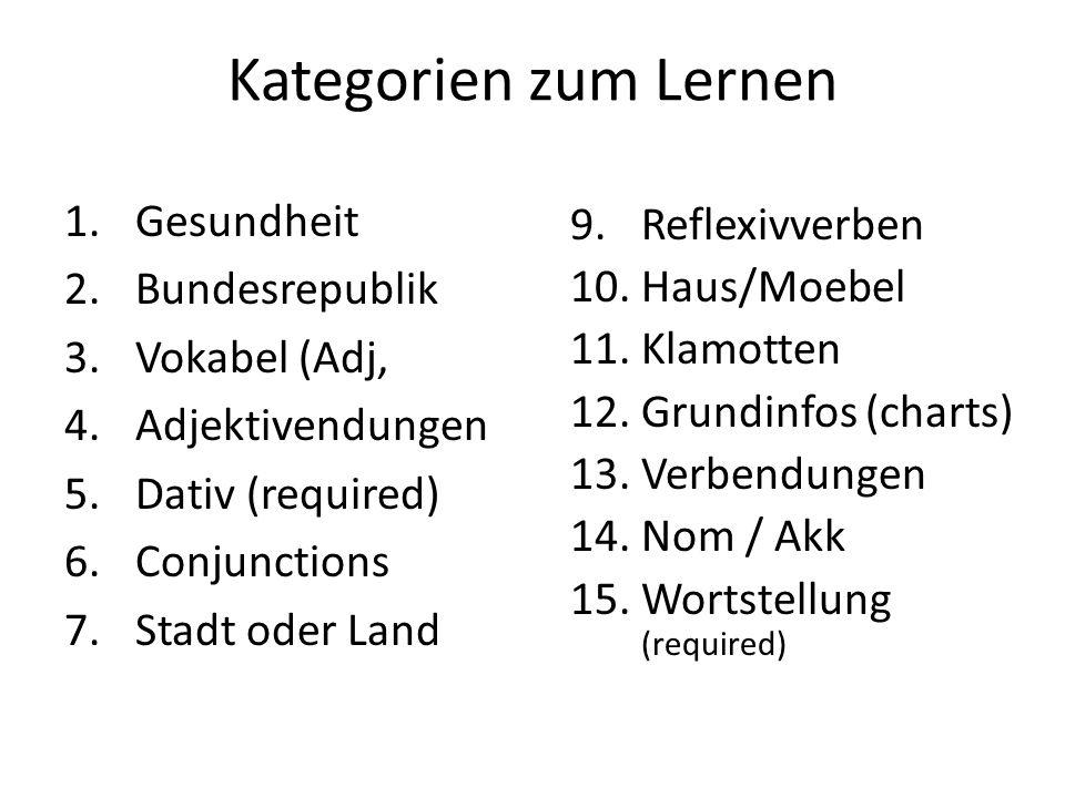 Kategorien zum Lernen Gesundheit Reflexivverben Bundesrepublik