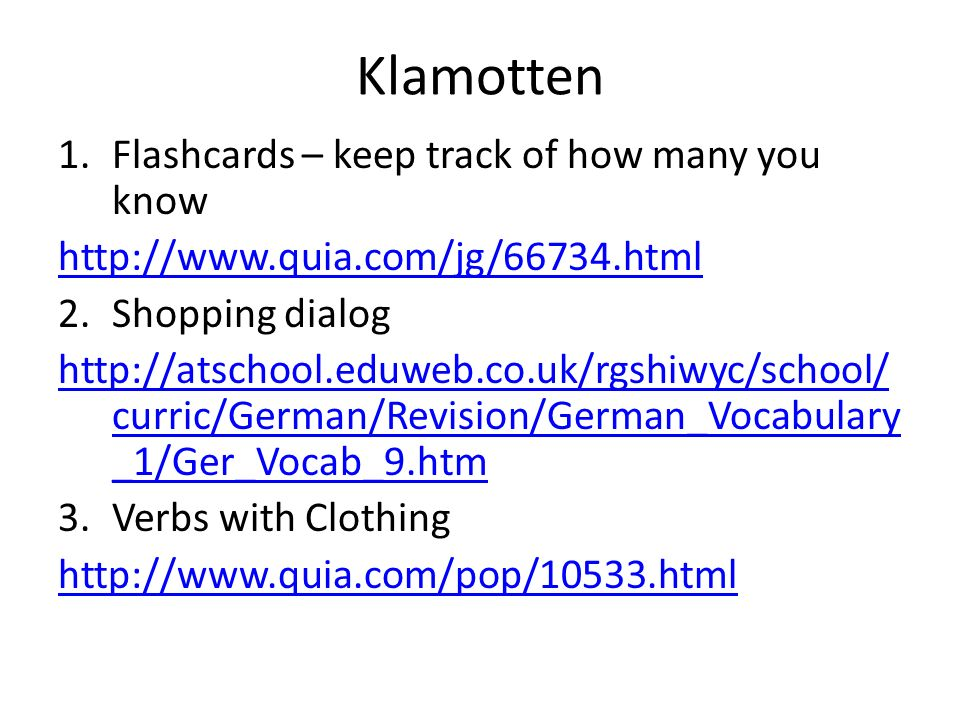 Klamotten Flashcards – keep track of how many you know