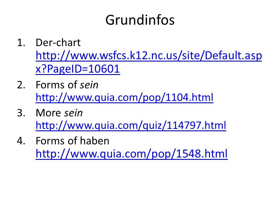 Grundinfos Der-chart http://www.wsfcs.k12.nc.us/site/Default.aspx PageID=10601. Forms of sein http://www.quia.com/pop/1104.html.