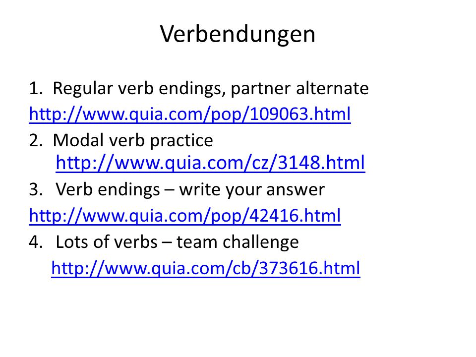 Verbendungen 1. Regular verb endings, partner alternate