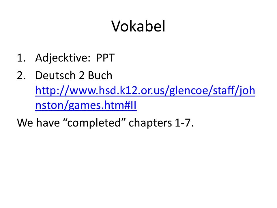 Vokabel Adjecktive: PPT
