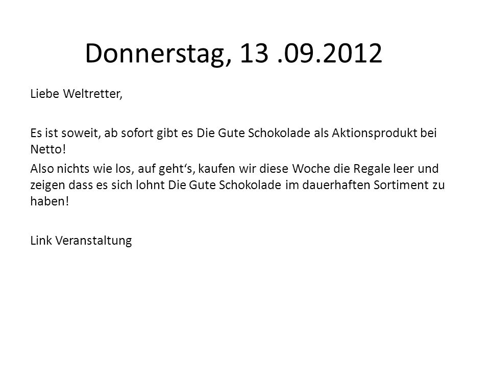 Donnerstag, 13 .09.2012