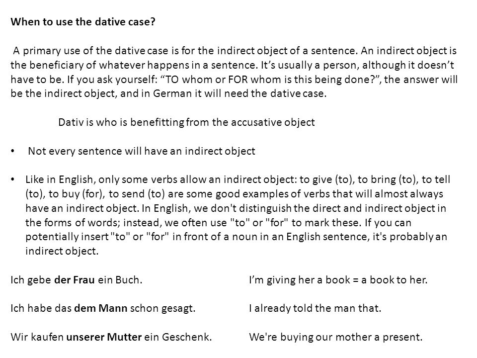When to use the dative case