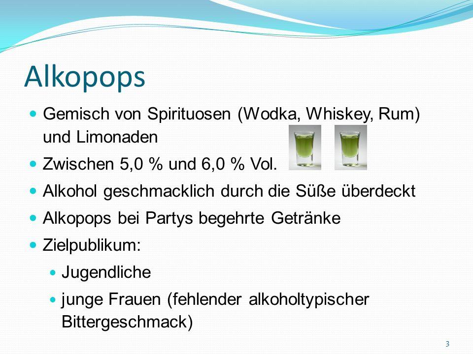 Alkopops Gemisch von Spirituosen (Wodka, Whiskey, Rum) und Limonaden