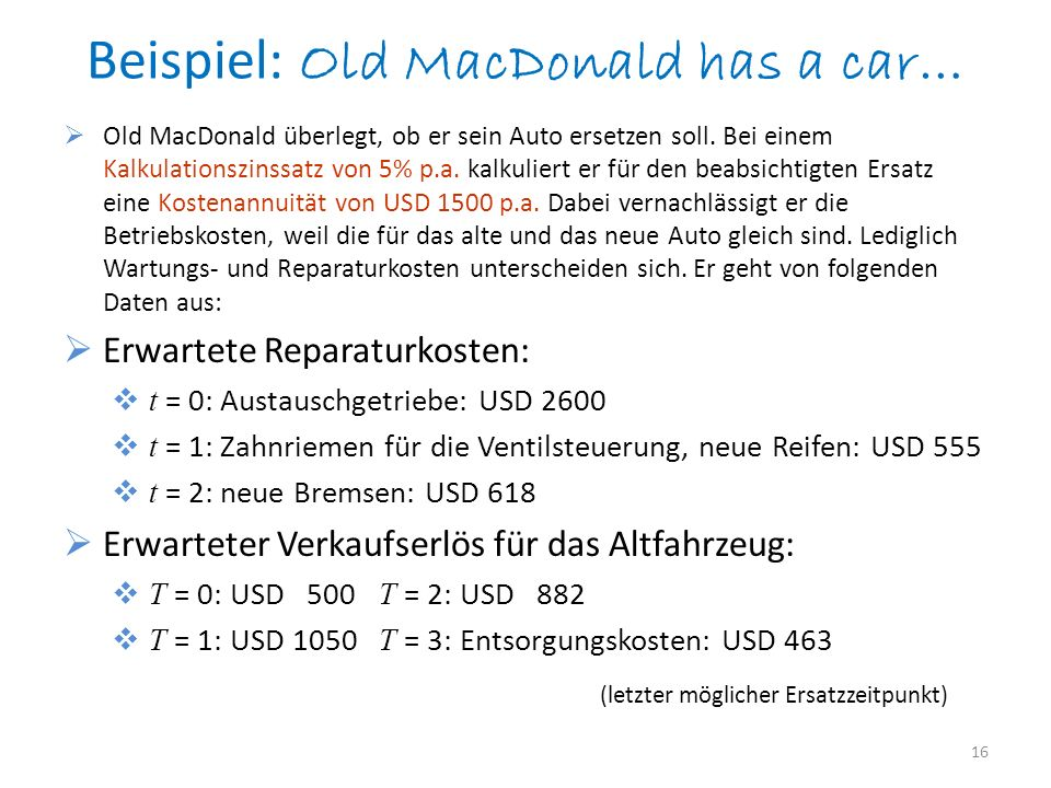 Beispiel: Old MacDonald has a car…