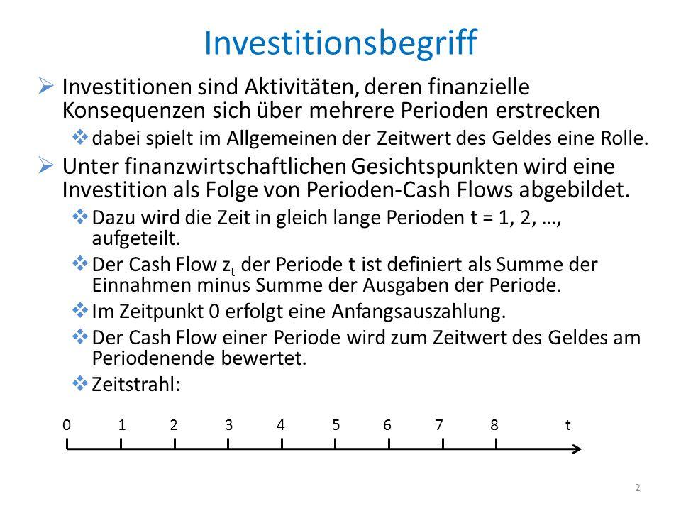 InvestitionsbegriffInvestitionen sind Aktivitäten, deren finanzielle Konsequenzen sich über mehrere Perioden erstrecken.