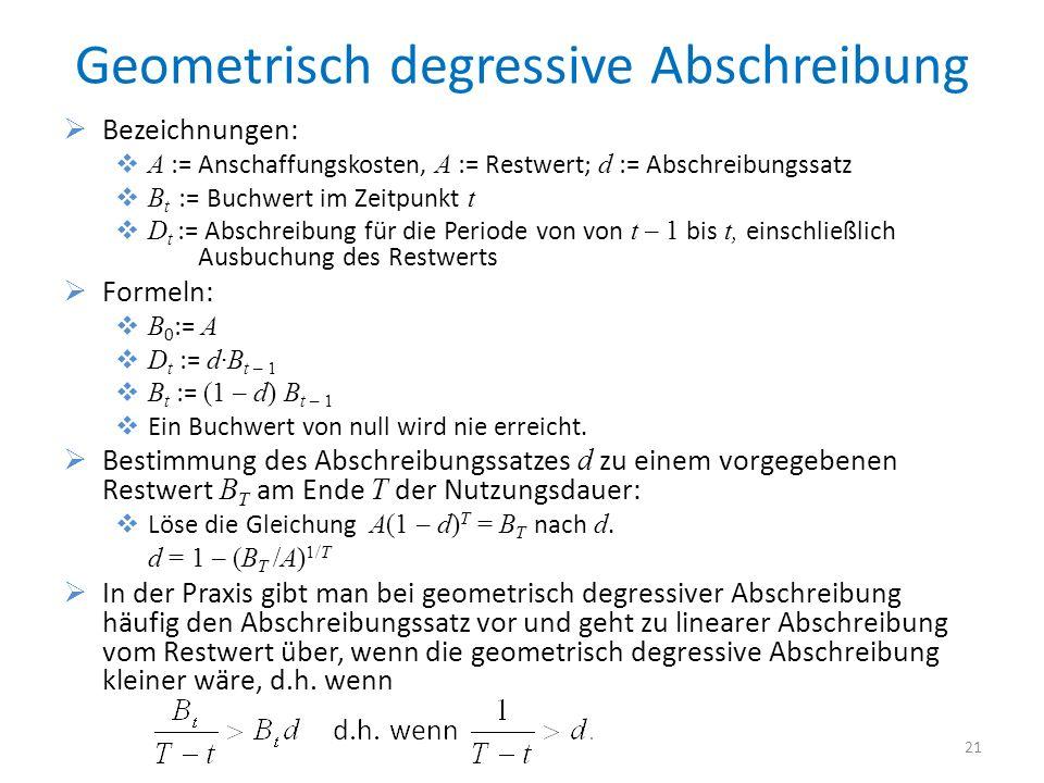 Geometrisch degressive Abschreibung