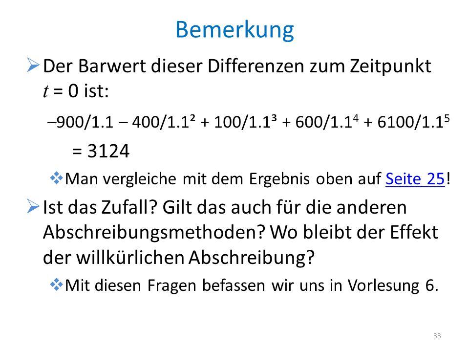 Bemerkung Der Barwert dieser Differenzen zum Zeitpunkt t = 0 ist: