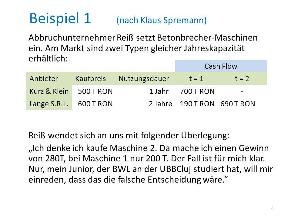 Beispiel 1 (nach Klaus Spremann)