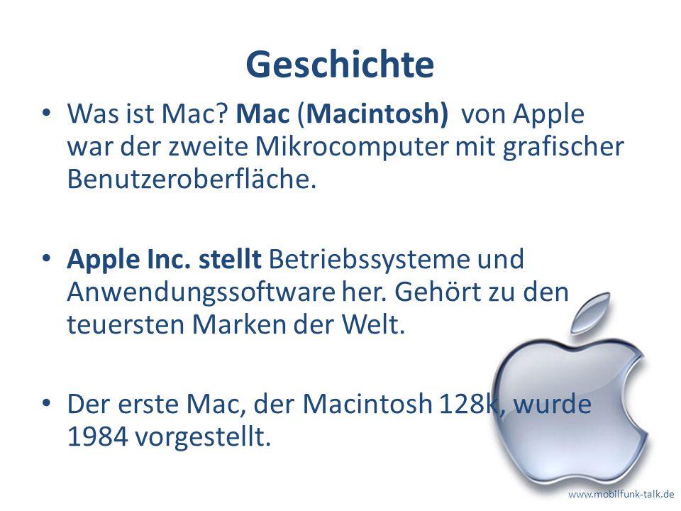 Geschichte Was ist Mac Mac (Macintosh) von Apple war der zweite Mikrocomputer mit grafischer Benutzeroberfläche.