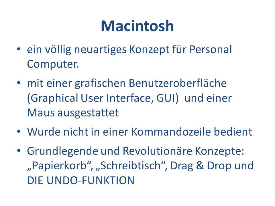 Macintosh ein völlig neuartiges Konzept für Personal Computer.