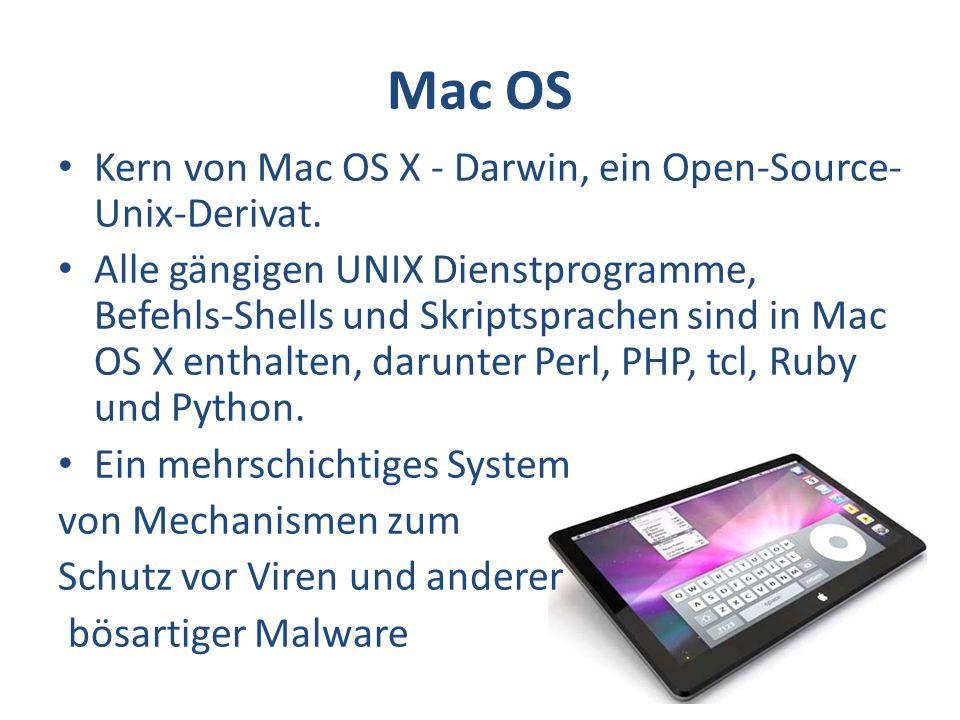 Mac OS Kern von Mac OS X - Darwin, ein Open-Source-Unix-Derivat.