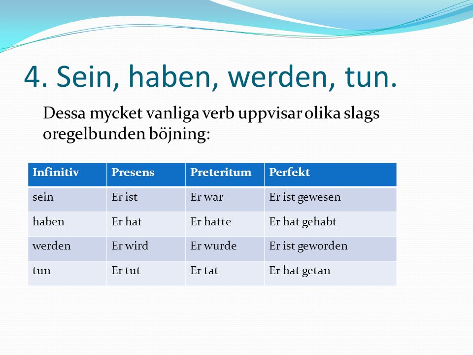4. Sein, haben, werden, tun. Dessa mycket vanliga verb uppvisar olika slags oregelbunden böjning: Infinitiv.