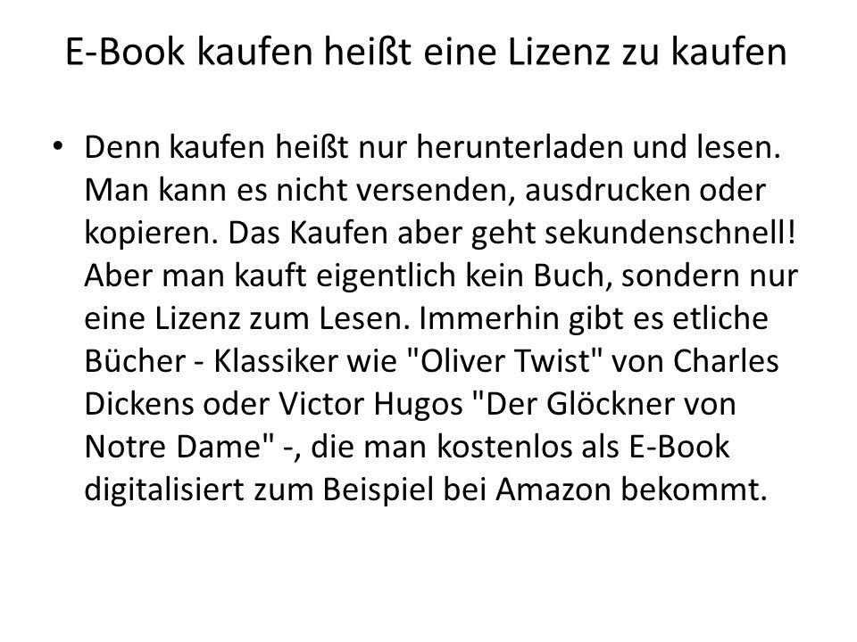 E-Book kaufen heißt eine Lizenz zu kaufen