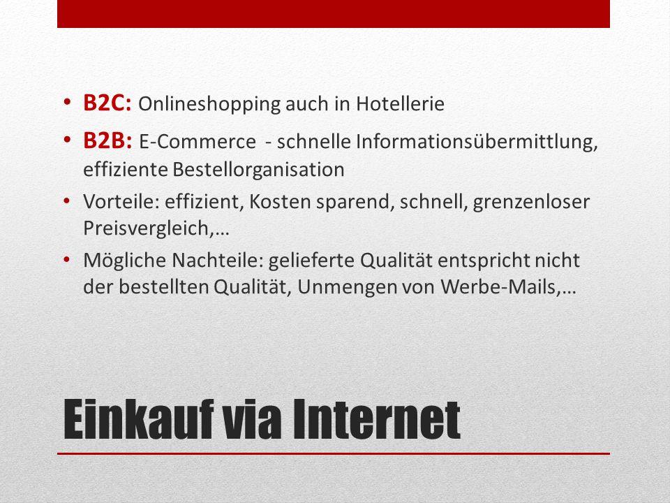 Einkauf via Internet B2C: Onlineshopping auch in Hotellerie