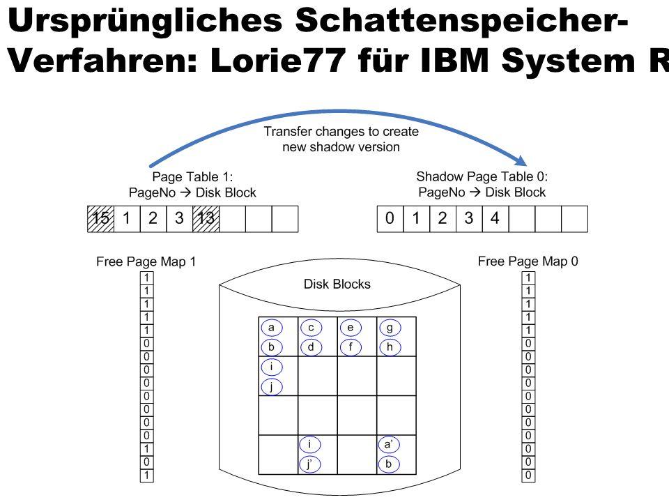 Ursprüngliches Schattenspeicher-Verfahren: Lorie77 für IBM System R