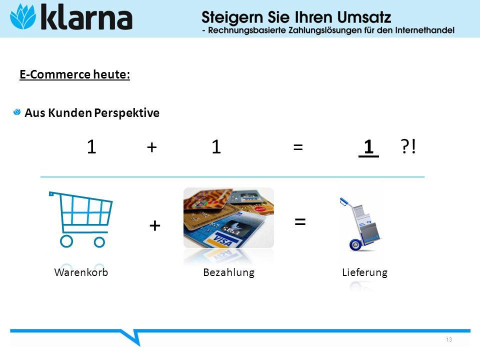 1 + 1 = 1 ! = + E-Commerce heute: Aus Kunden Perspektive