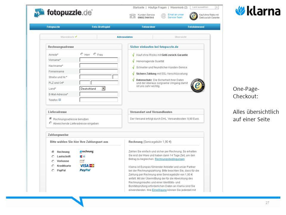 One-Page-Checkout: Alles übersichtlich auf einer Seite