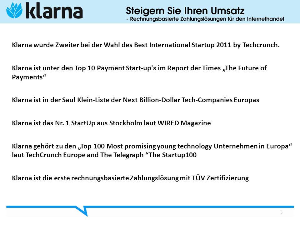 Klarna wurde Zweiter bei der Wahl des Best International Startup 2011 by Techcrunch.