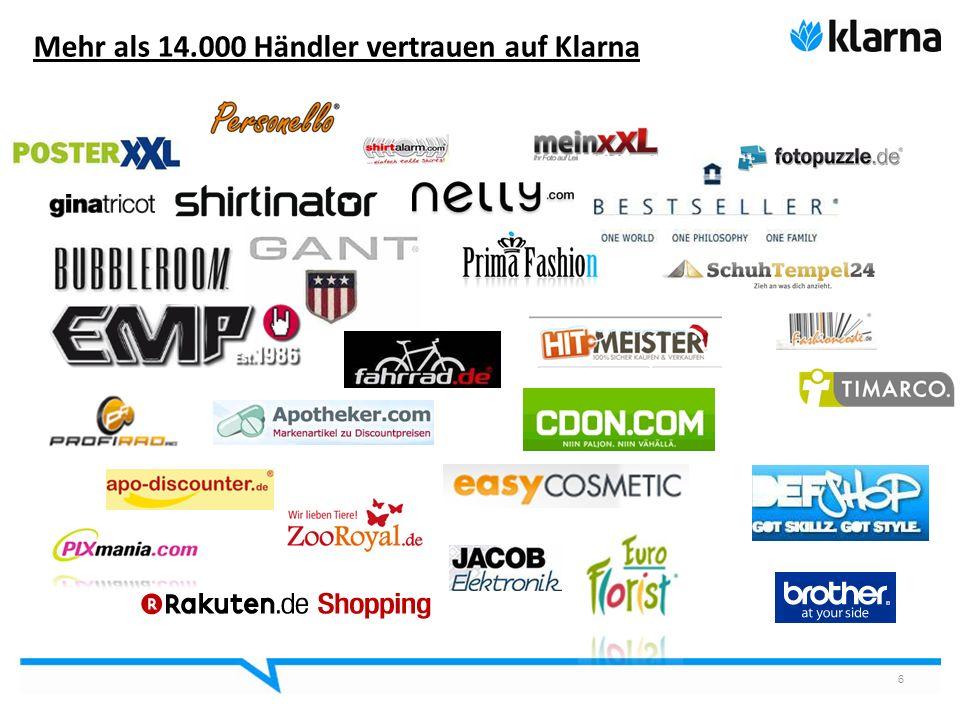 Mehr als 14.000 Händler vertrauen auf Klarna