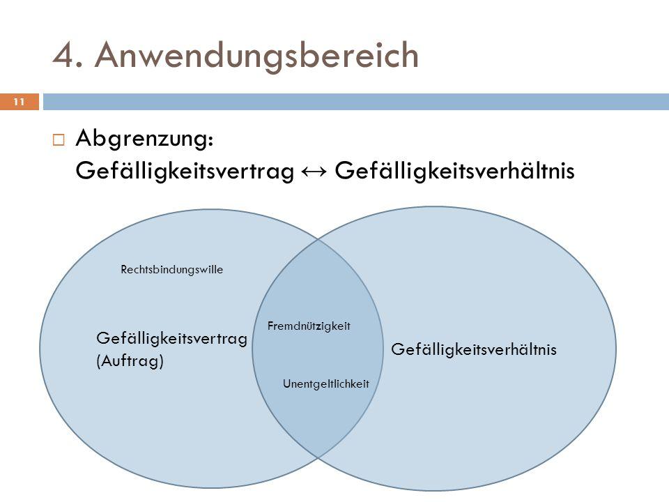 4. Anwendungsbereich Abgrenzung: Gefälligkeitsvertrag ↔ Gefälligkeitsverhältnis. Gefälligkeitsvertrag (Auftrag)
