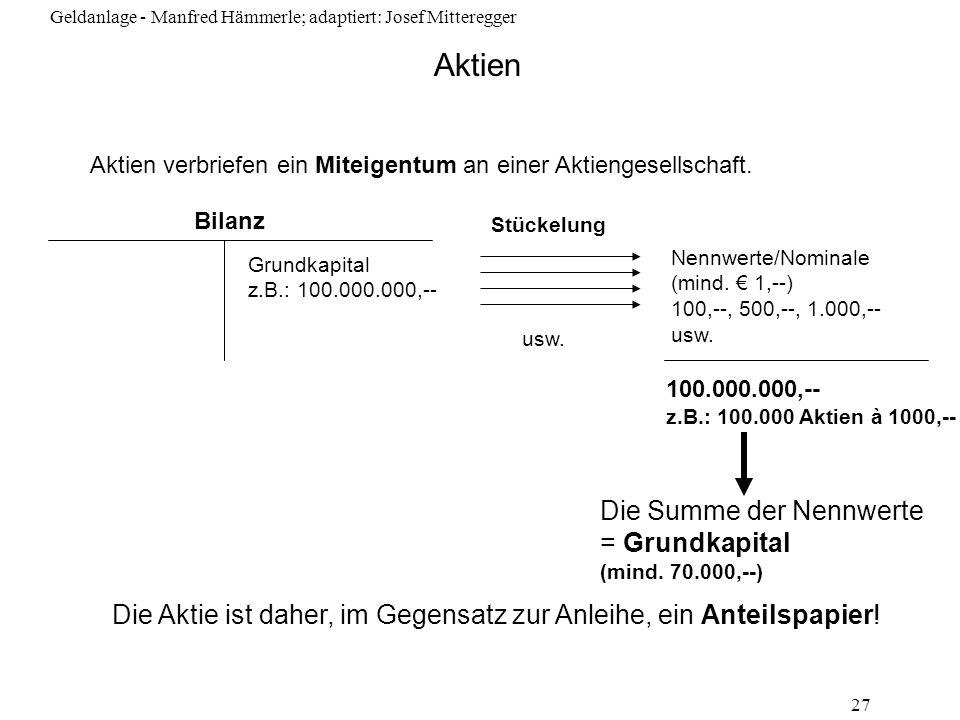 Aktien Die Summe der Nennwerte = Grundkapital (mind. 70.000,--)