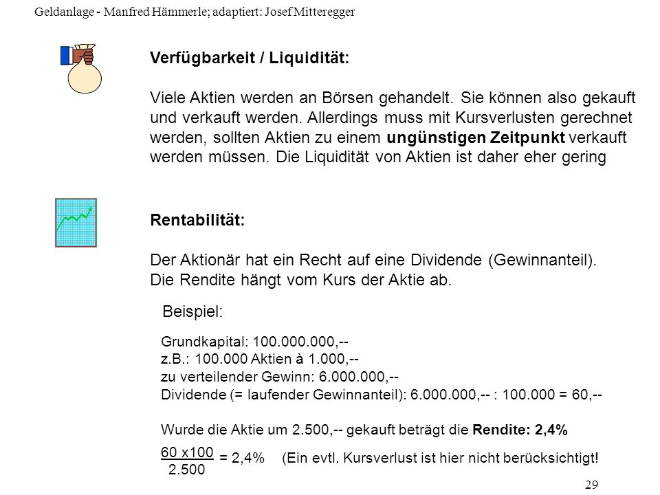 Verfügbarkeit / Liquidität: