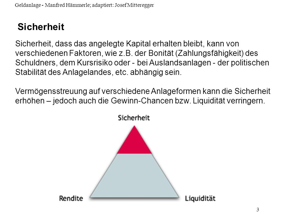Geldanlage - Manfred Hämmerle; adaptiert: Josef Mitteregger