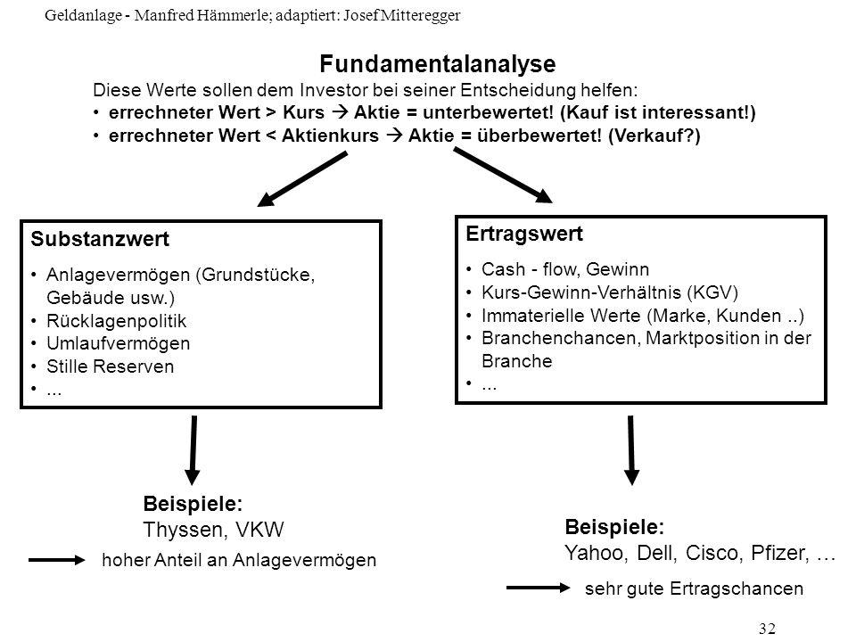 Fundamentalanalyse Ertragswert Substanzwert Beispiele: Thyssen, VKW