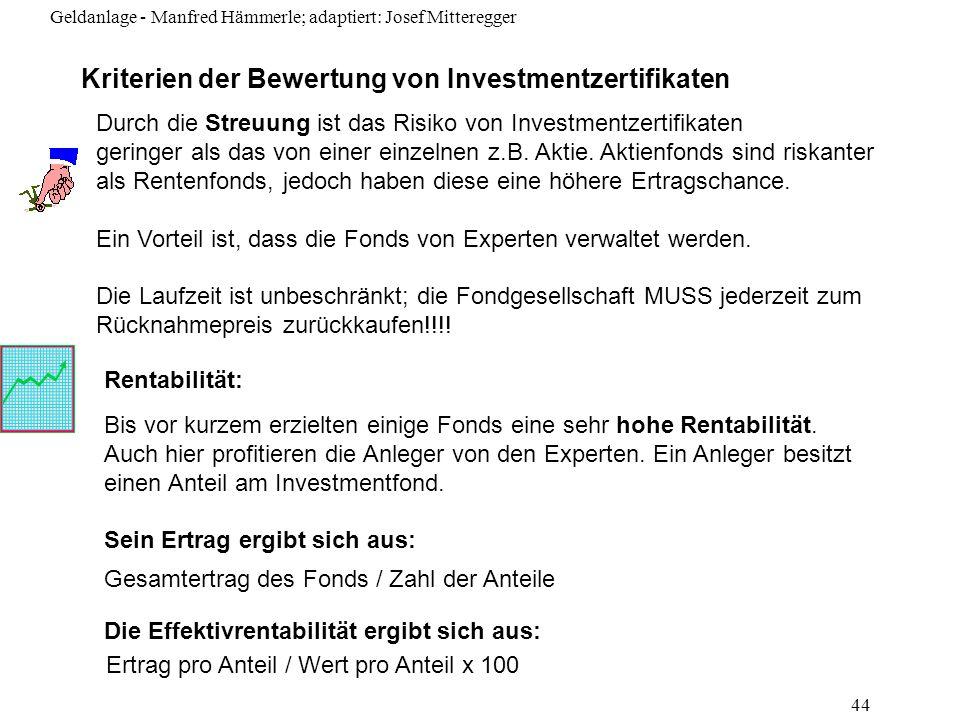 Kriterien der Bewertung von Investmentzertifikaten
