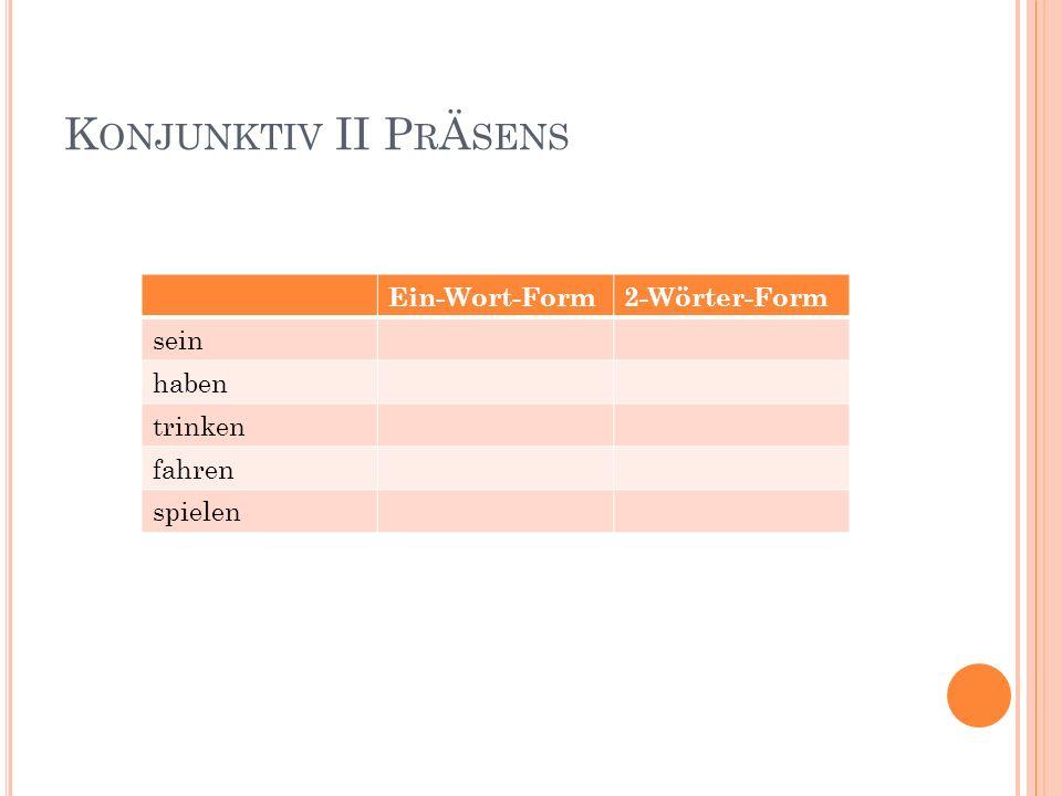 Konjunktiv II PrÄsens Ein-Wort-Form 2-Wörter-Form sein haben trinken