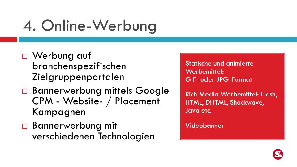 4. Online-Werbung Werbung auf branchenspezifischen Zielgruppenportalen