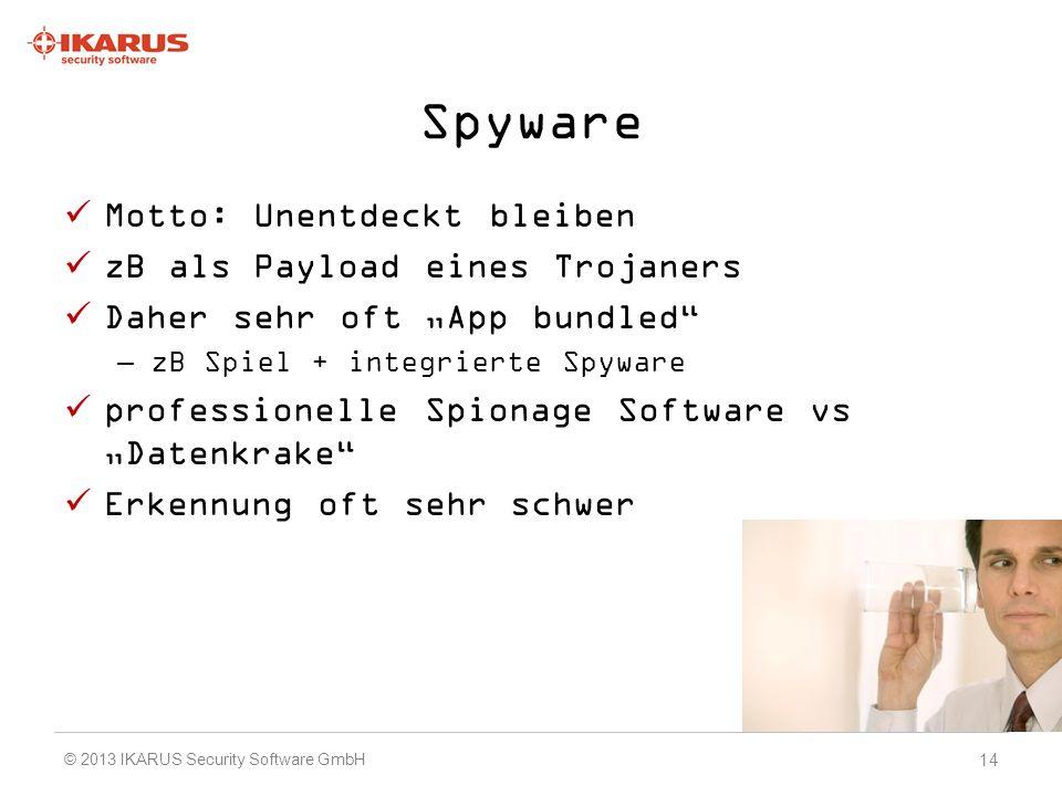 Spyware Motto: Unentdeckt bleiben zB als Payload eines Trojaners