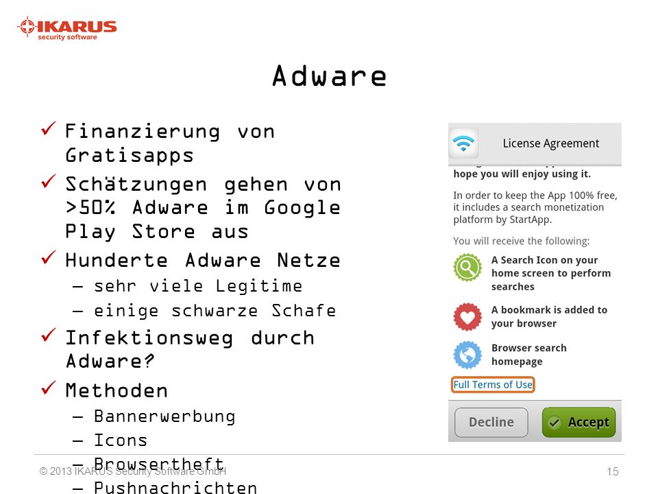 Adware Finanzierung von Gratisapps