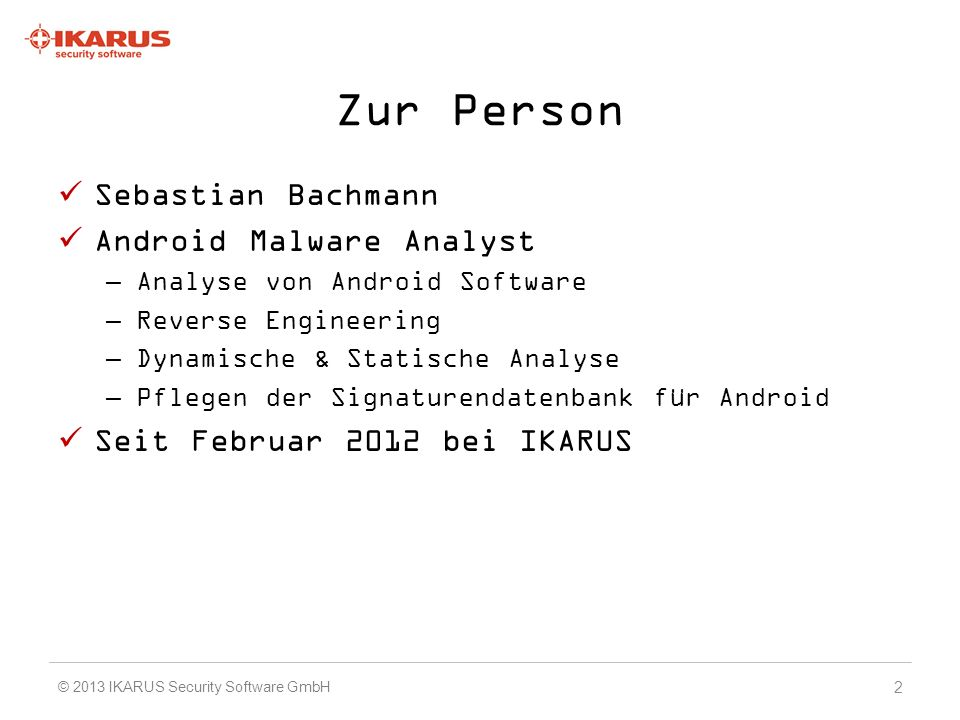 Zur Person Sebastian Bachmann Android Malware Analyst