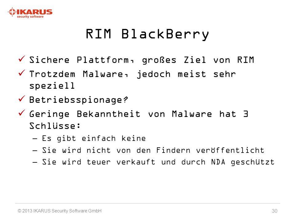 RIM BlackBerry Sichere Plattform, großes Ziel von RIM