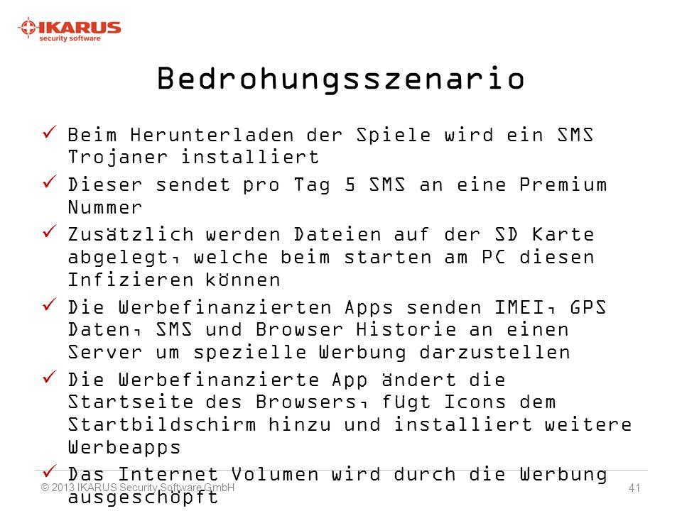 Bedrohungsszenario Beim Herunterladen der Spiele wird ein SMS Trojaner installiert. Dieser sendet pro Tag 5 SMS an eine Premium Nummer.