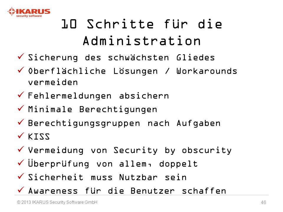 10 Schritte für die Administration