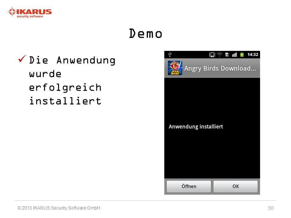 Demo Die Anwendung wurde erfolgreich installiert