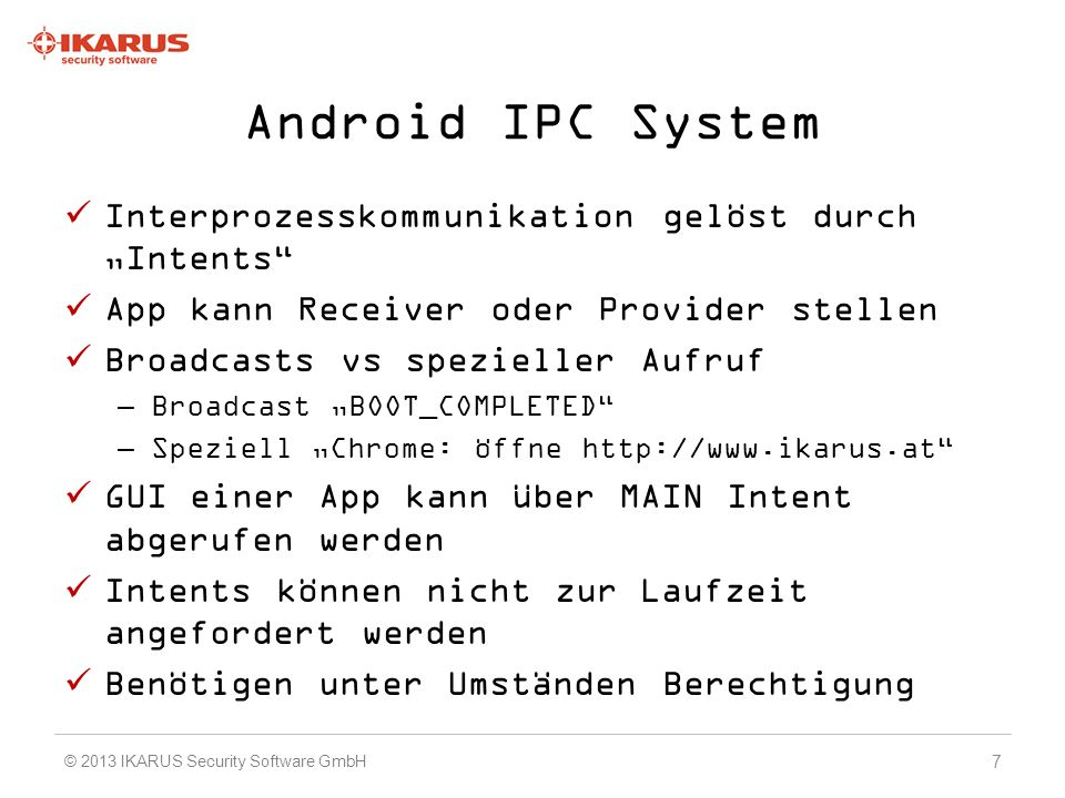 "Android IPC System Interprozesskommunikation gelöst durch ""Intents"