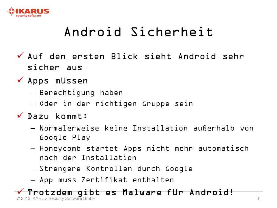 Android Sicherheit Auf den ersten Blick sieht Android sehr sicher aus