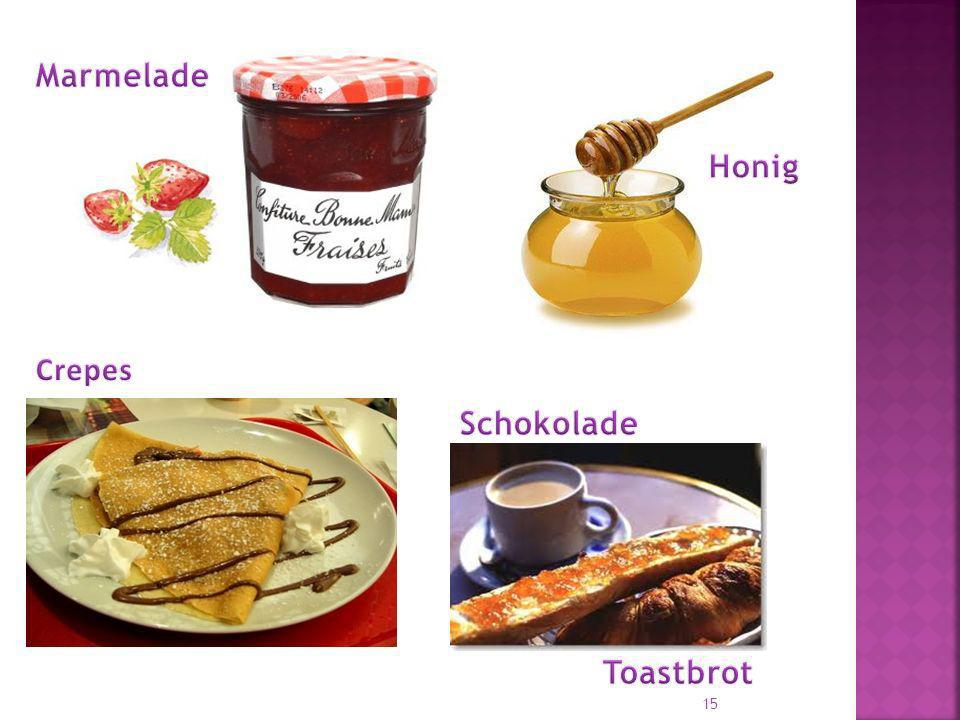Marmelade Honig Crepes Schokolade Toastbrot