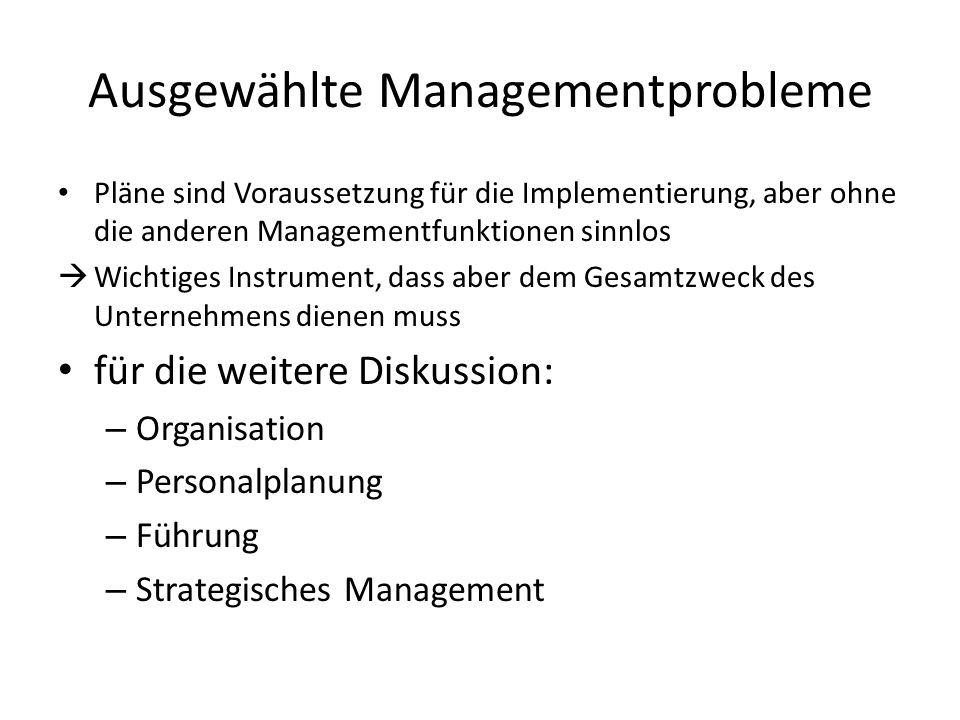 Ausgewählte Managementprobleme